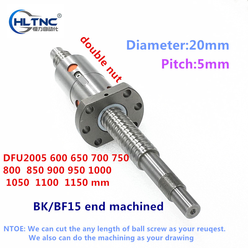 2005 RM2005  600mm 700mm 800mm 900mm 1000mm 650mm 750mm 950mm 1100mm 1150mm Screw Ballscrew + DFU2005 Double Ballnut For CNC Xyz