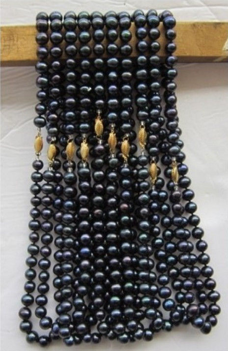 7-8mm Black freshwater pearl and chalcedony necklace 18inch 5 pcs/lot DIY women fashion jewelry making JT67907-8mm Black freshwater pearl and chalcedony necklace 18inch 5 pcs/lot DIY women fashion jewelry making JT6790