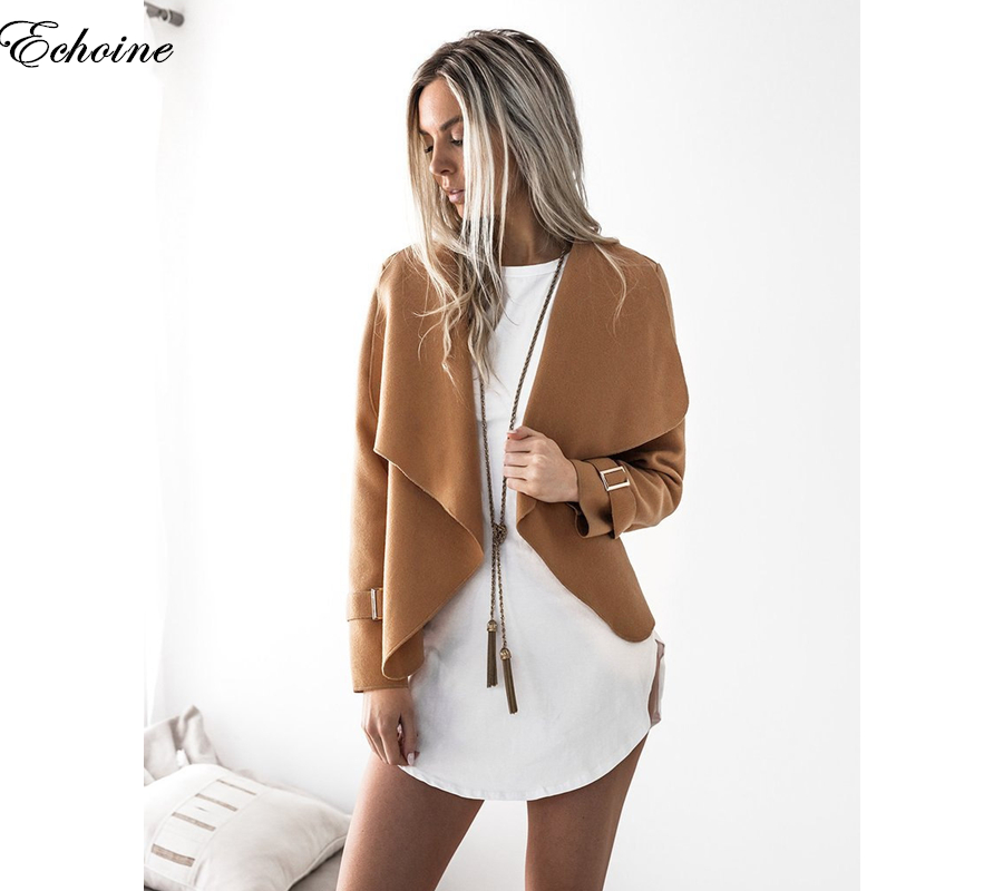 Echoine 2017 New Fashion Bomber   Jacket   Long Sleeve Turn-down Collar Outerwear Autumn Female   Basic     Jackets   Women Cardigan Coat