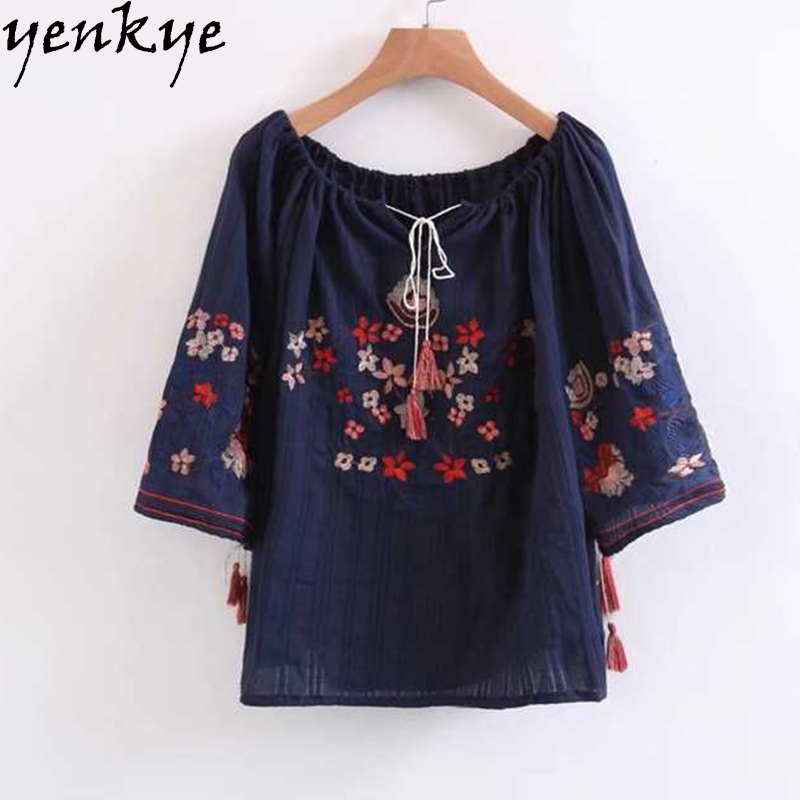 Vintage Women Navy Blue Floral Embroidery Summer Blouse Drawstring Slash Neck Long Sleeve Plus Size Sexy Off Shoulder Top ...
