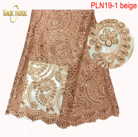 High Quality African Lace Fabric French Net Embroidery Sequins Tulle Lace Fabric For Nigerian party Dress    PLN19