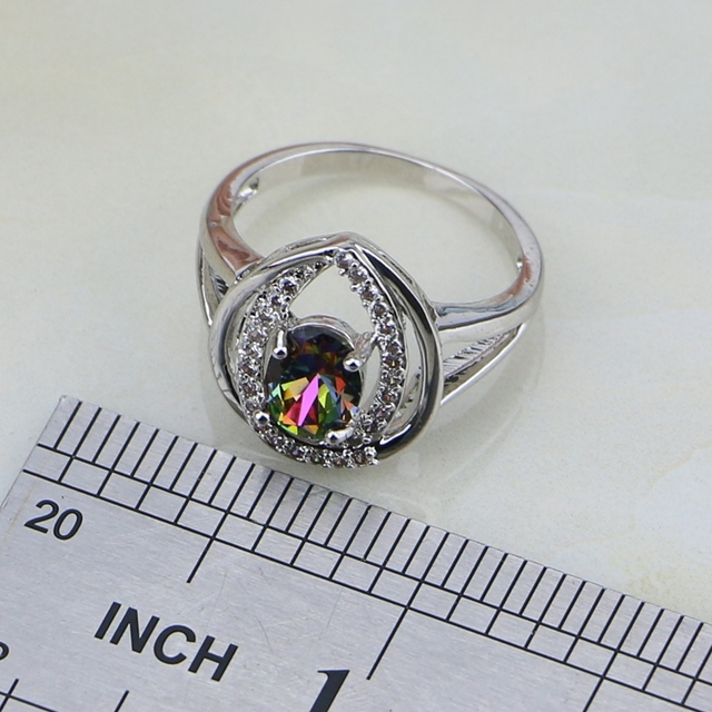 925 Silver Jewelry Mystic Rainbow Fire Stones White CZ Jewelry Set