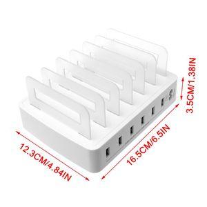 Image 5 - Carregador usb inteligente estação de carregamento rápido doca 6 portas 2.4a tablets do telefone móvel vários dispositivos organizador desktop suporte energia
