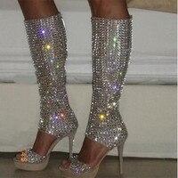 Новые модные женские сапоги гладиаторы на высокой платформе с открытым носком, украшенные стразами, сапоги до колена с вырезами, сапоги на в