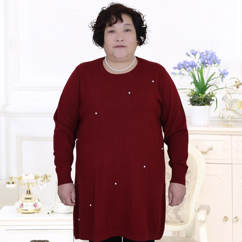 Moyen âge femmes vêtements hiver pull femmes laine grande taille moyen et ancien mode grande taille tricoté pull PJ523
