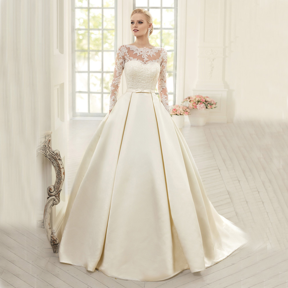 Ivory Lace Bodice Ball Gown Wedding Dress With Sheer Long
