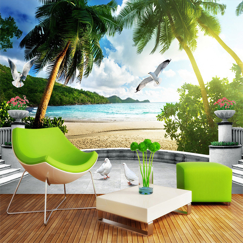 3D Wall Mural Southeast Asia Scenery Seaside Beach Forest Count Trees Custom Photo Wallpaper Living Room 3D Space Wall Papers