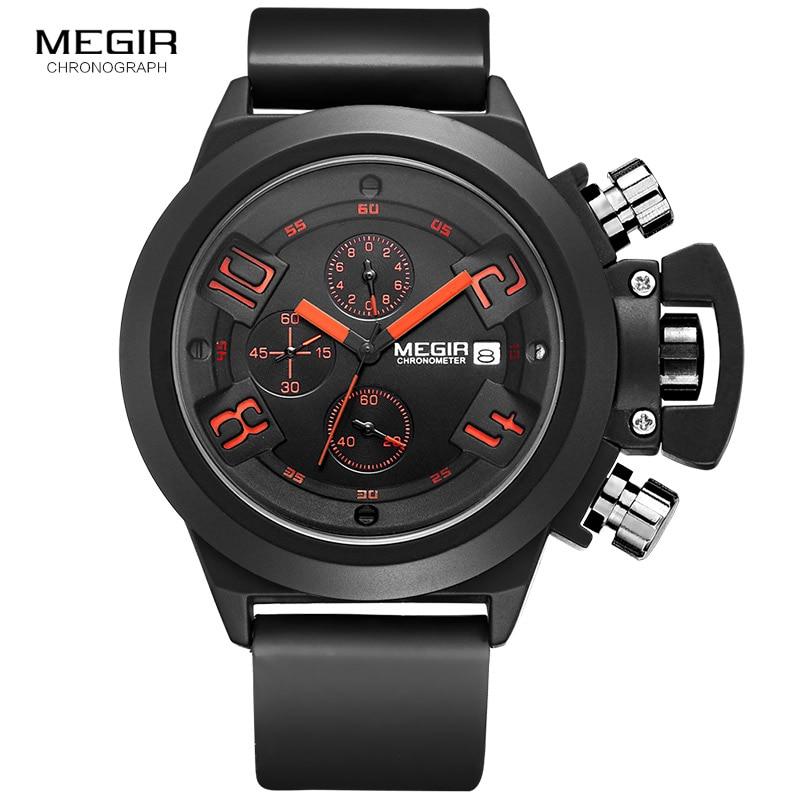 Megir Fashion Mens Silicone Band Sportowe zegarki kwarcowe Zegarek - Męskie zegarki - Zdjęcie 2