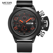 Megir Moda Mens Banda de Silicone Esporte De Quartzo Relógios de Pulso Analógico Mostrador do Relógio Cronógrafo Preto para o Homem com Calendário 2002