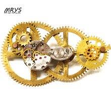 steampunk gothic punk rock watch clock parts metal gear collar brooch pins pendant chain men women handmade diy vintage jewelry