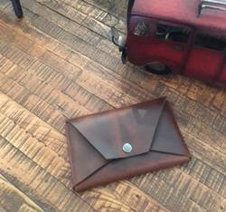 Handmade Full Grain Leather Envelope Heavy Duty Brass Snaps Passport Holder  Make Up Holder  Electronics Storage