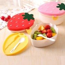 С милым клубничным рисунком в форме здоровый пластиковая коробка для бенто коробки для завтрака контейнер для еды столовая посуда Ланчбокс столовые приборы