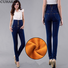 Women Jeans Winter High Waist European Style Trouser Denim Autumn Ladies Plus Thick Velvet Pencil Pants Female Nine Legging Warm