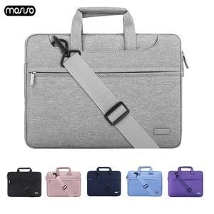 Image 1 - MOSISO Повседневный водонепроницаемый полиэстер портфель для ноутбука 13 14 15 дюймов сумка с ремешком для ноутбука сумка для ноутбука чехол для женщин и мужчин