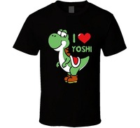 China Style Fashion Rock I Love Yoshi Super Mario Bros T Shirt Cartoon Tee Shirt Homme