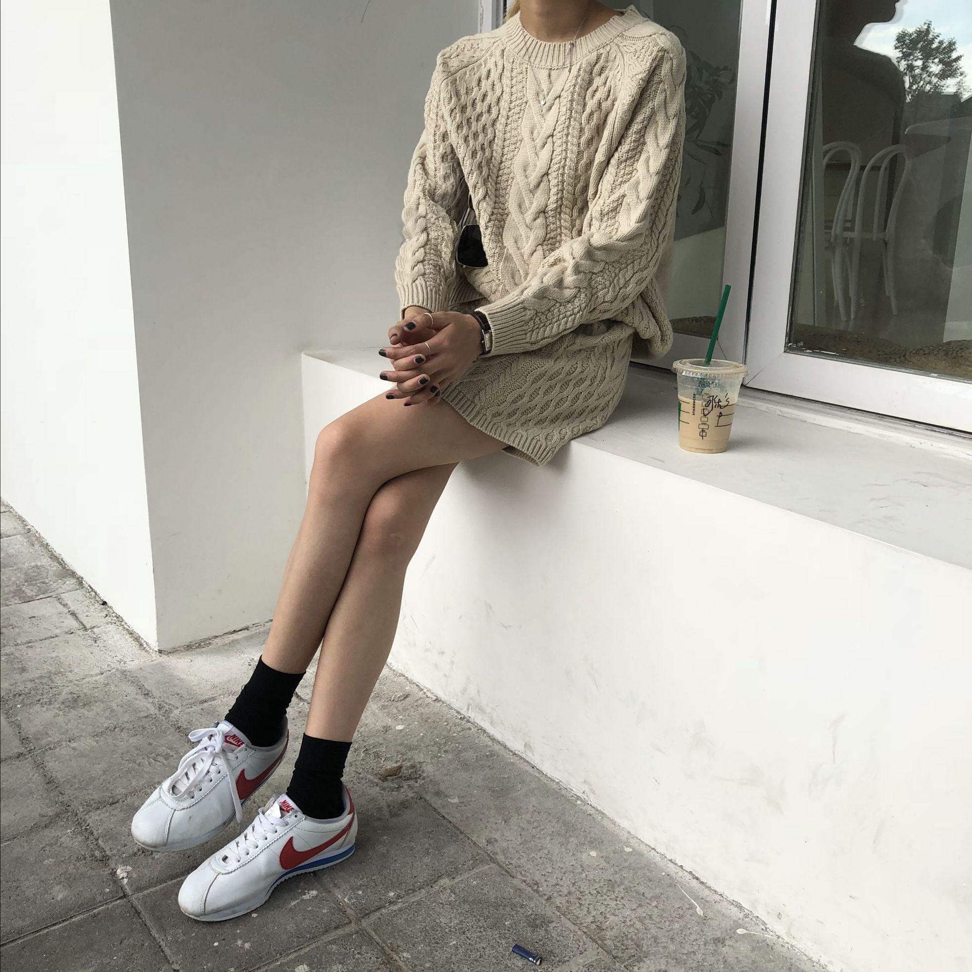 Poncho offre spéciale coton 2018 nouveau femmes tricot costume col rond décontracté à manches longues lâche pull + jupe deux pièces femme - 3
