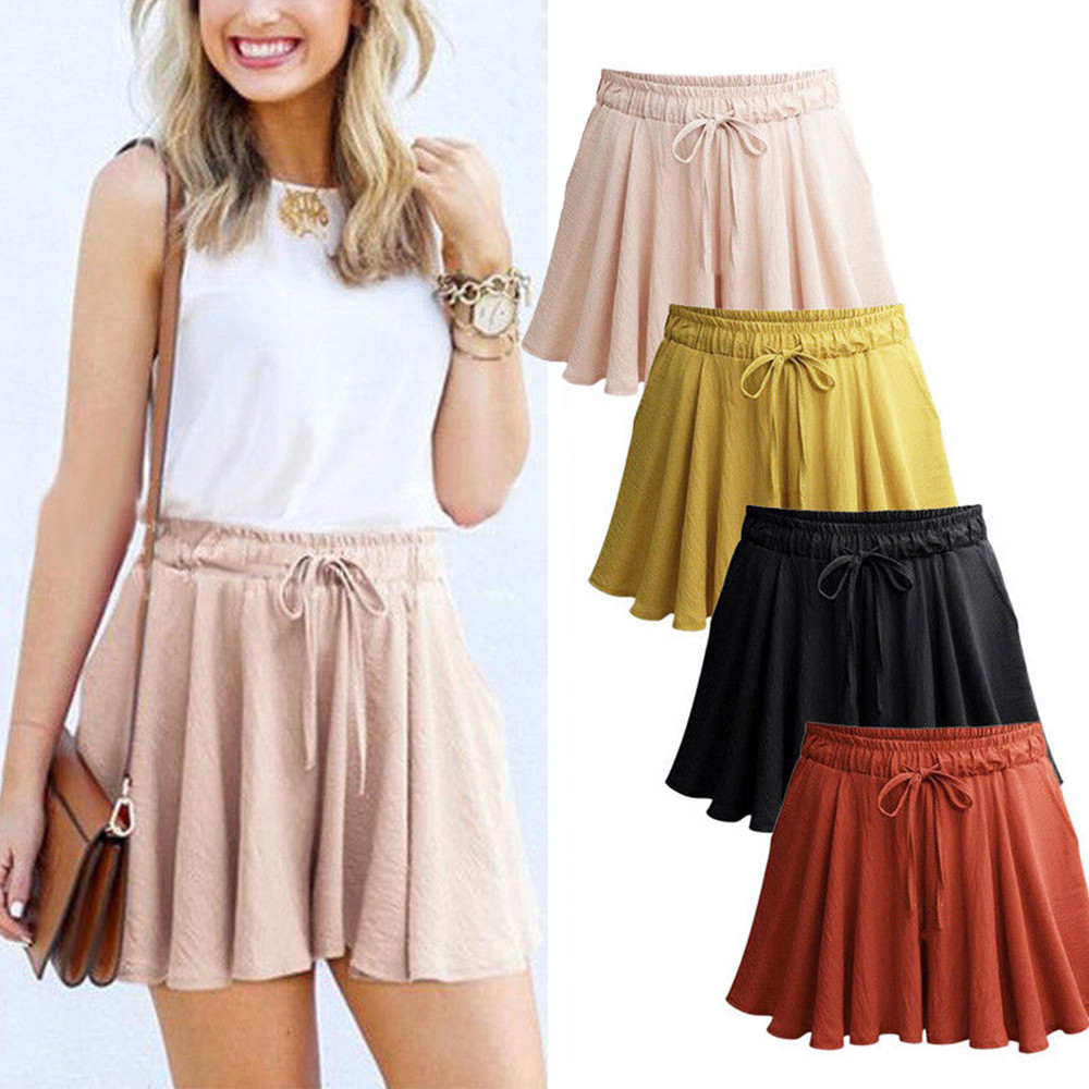 Women Fashion Casual Loose   Shorts   Mini Skirt High Waist Trousers High Waist Femme Ete 2019   Shorts   pantalon corto mujer q70