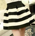 classic Black/Blue And White Striped Skirts Was Thin Waist Big Tutu Sun Summe Spring Women Skirt