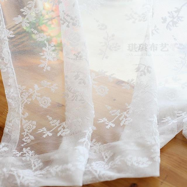 Small Aesthetic Screens Rose Flower Curtain Tulle White Or Light