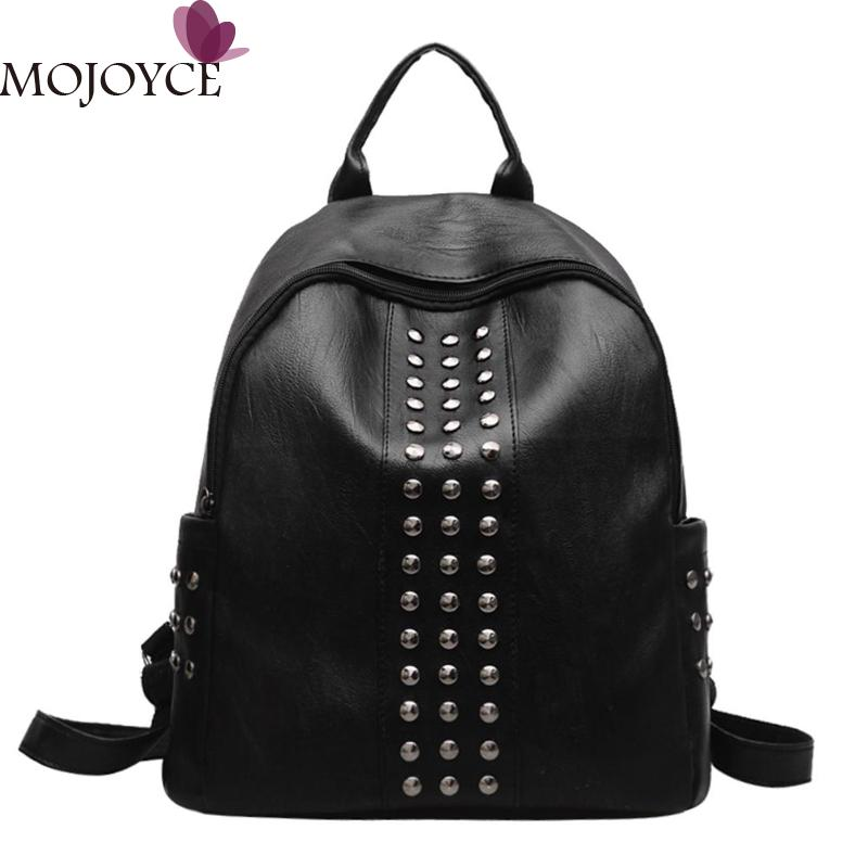Newest Small Punk Hip-Hop Backpack Women Rivets PU Leather Zipper Backpack Female Backpacks Casual School Bag for Teenager Girl new 2018 punk hip hop skull men backpacks waterproof pu leather rivet women backpacks casual school bags for teenagers mochilas