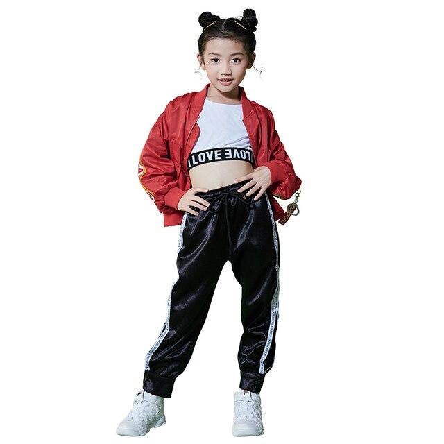 0dbdc82d2e83f Hip Hop niños traje de niñas de moda Rave ropa niños danza Jazz traje etapa