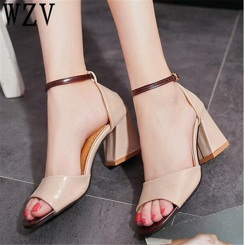 Zapatos Mujer Women Pumps Ankle Strap Thick Heel Women Shoes Square Toe Mid Heels Dress  ...