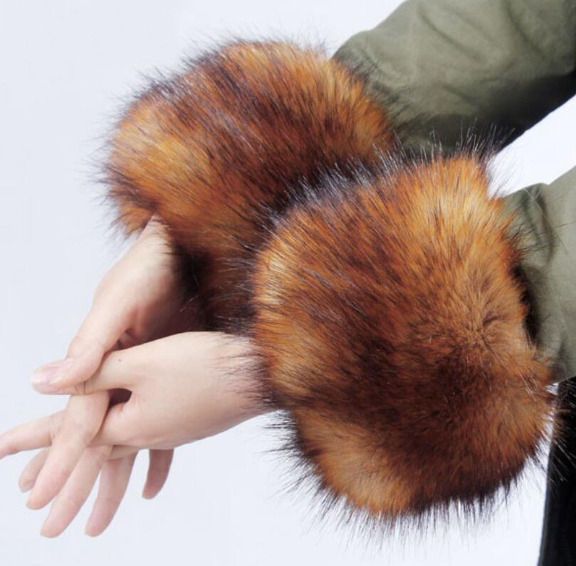 Armstulpen L 2018 Hohe Qualität Hülse Manschette Armband Faux Pelz Hand Ring Hülse Fuchs Pelz Winter Weibliche Freies Verschiffen Miara