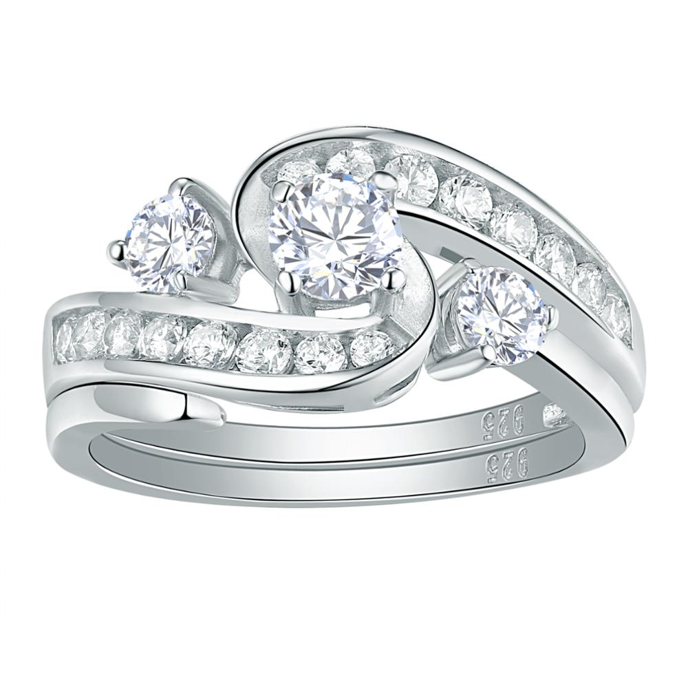 Newshe Unique Wedding Engagement Ring Bridal Set 1Ct Round White CZ 925 Sterling Silver Trendy Jewelry Gift For Women QR104435