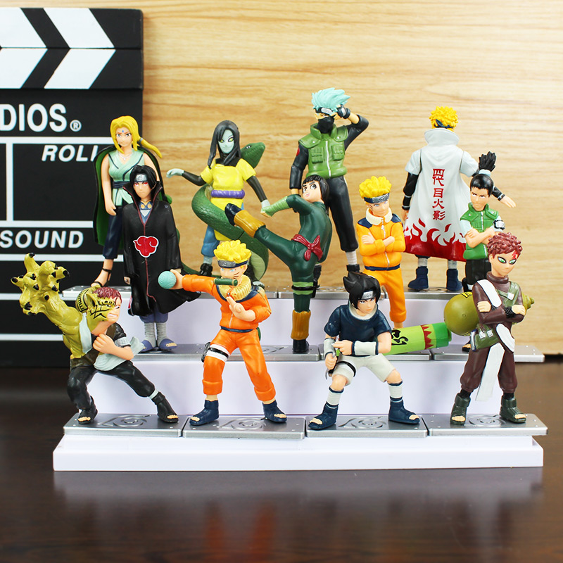 4Pcs/Set Naruto Uzumaki Sasuke Orochimaru Kankuro Rokku Rii Gaara Yondaime PVC Action Figure Model Dolls Toys Great Gift 8~11cm 6 pcs set naruto action figure toys 8cm anime cool uzumaki hinata madara kakashi pvc dolls for kids gift collection