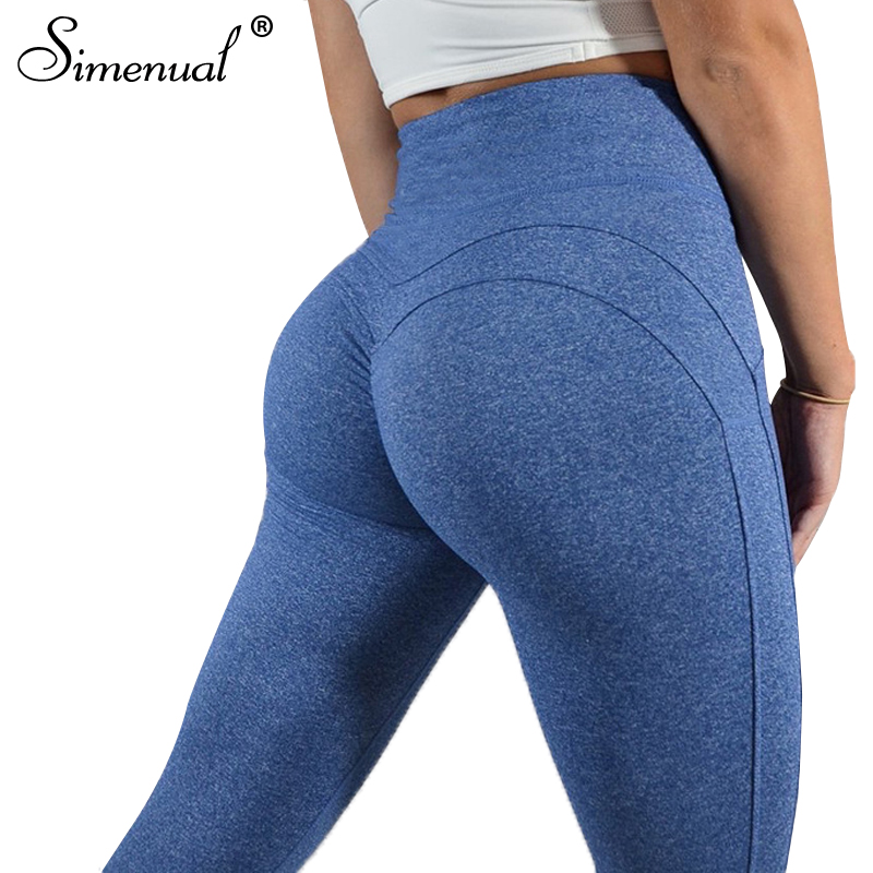 Simenual fruncido cintura alta polainas fitness 2018 culturismo push up sexy legging pantalones de yoga deportivo jeggings