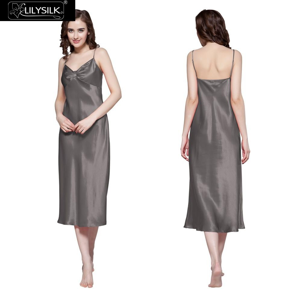 1000-dark-gray-22-momme-gathered-bowknot-neck-silk-nightgown