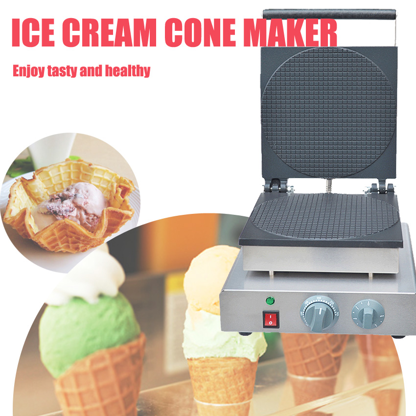 1PC High quality Electric Non-Stick ice cream cone maker cone  machine egg roll machine 110V or 220v 1750w chinese single round pan rolled ice cream machine fried ice cream roll machine with 6 barrels