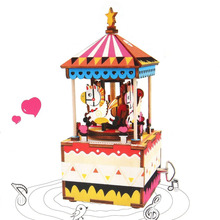DIY 3D Wooden Puzzle One-way Music Box Carousel Clockwork Kids Children Toys Christmas Gift Home Craft Decoration