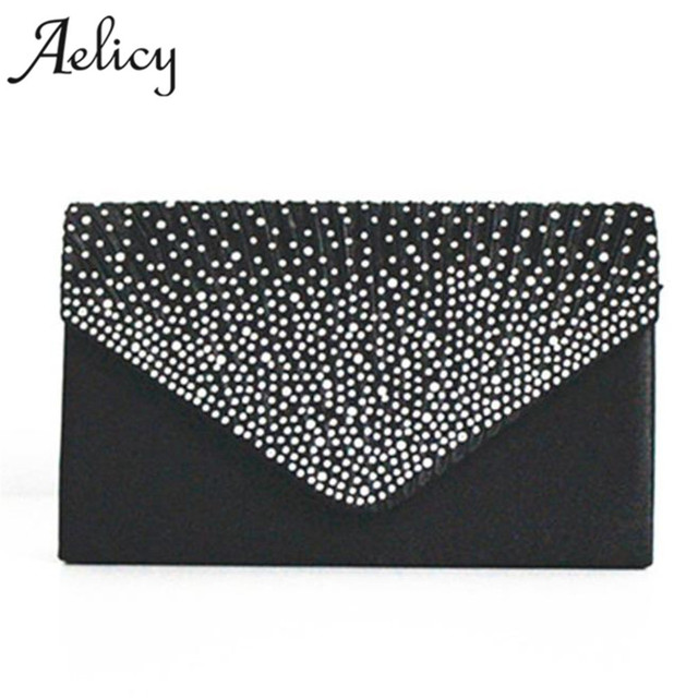 Aelicy Ladies girls Large Evening Satin Bridal Diamante Ladies Clutch Bag  Party Prom Envelope Small Women Leather Crossbody bag 76096b72bd11