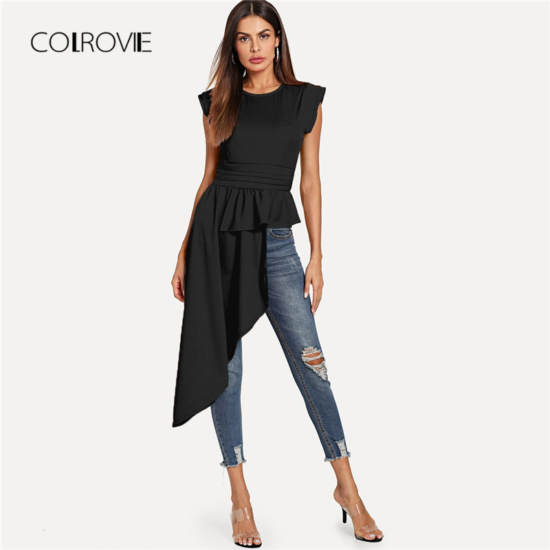 COLROVIE Black Workwear Asymmetrical Hem Keyhole Back Women Blouse Shirt 2018 New Autumn Solid Cap Sleeve Sexy Blouse And Tops