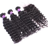 Deep Wave Human Hair Bundles With Closure Brazilian Hair Weave 3 Bundles 4 X4 Lace Closure