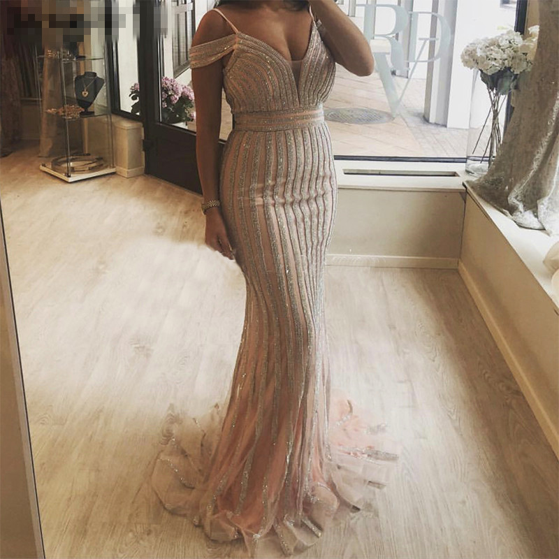 Robe de soirée 2018 longues robes de soirée sirène scintillante pailletée hors de l'épaule saoudienne arabe formelle robe de soirée de bal - 4