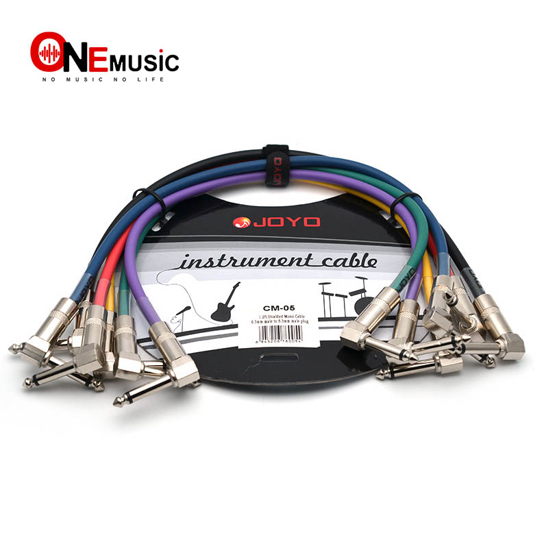 JOYO Effect Pedal Cable 1.2ft Colourful Cable Shielded Mono 6.3mm Male to 6.3mm Male Angle Plug Cable