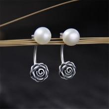 2018 New Fashion Antique 925 Silver Earrings for Women Shell Pearl Flower Dangle Female