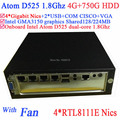 mini pc als server Intel Atom D525 1.8Ghz 4 Gigabit Lan Firewall ITX motherboard 4-way input and output GPIO 4G RAM 750G HDD