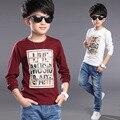 Новых мальчиков футболки дети мальчики одежда мода письмо с длинным рукавом футболки дети лето Высокое качество хлопок майка вершины