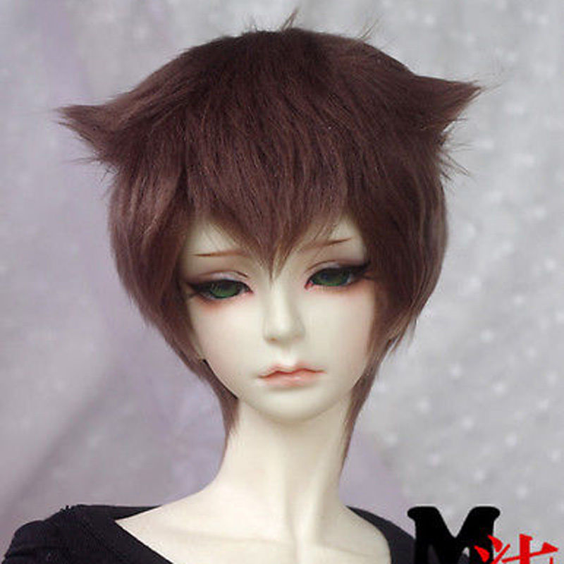 Dark Brown Middle-long Wool Wig Hair SD DOD DZ 1/3 BJD Dollfie 22-23cm
