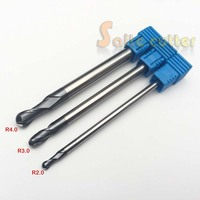 3PCS 2f R 2 3 4mm Two Flutes Ball Nose HRC55 Long Lenghth 75mm Tungsten