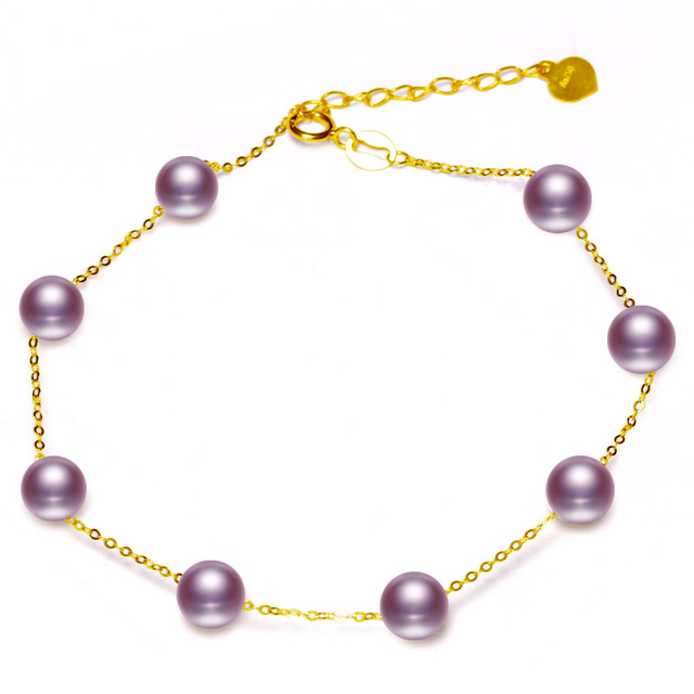 18K Gold 5-6mm White Pearl Bracelet 5