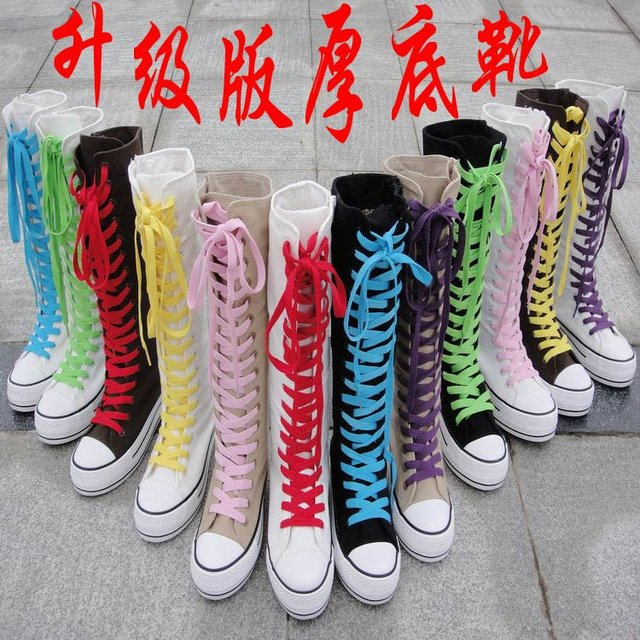 3851d0589d Free shipping,Hi top Canvas Classic Punk Platform Sneakers Girls Knee High  Boots,Lace up teenager grade AAA shoes,,colorful ties