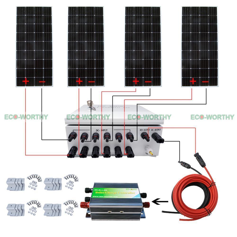 4pcs 160W 12V Mono Solar Panel W/ 6 String PV Combiner Box for Caravan Yacht Solar Generators 550mm 20m diy solar panel eva film sheet for pv cells encapsulation