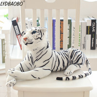 LYDBAOBO 1PC 75/90CM Giant Animal White Tiger Stuffed Plush Doll Kid Lovely Simulation Tiger Toy Baby Children Gifts Home Decora
