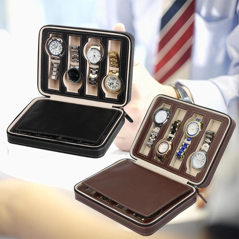8 Grids PU Leather Watch Box Storage Showing Watches Display Storage Box Case Tray Zippere Travel Jewelry Watch Collector Case cymii pu leather 10 slot jewelry storage holder wrist watch display box storage holder organizer case watch box gifts
