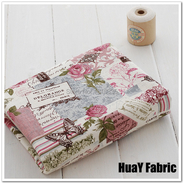Hot Sale 140cm Width Vintage Rose Floral Printed 100 Cotton Linen