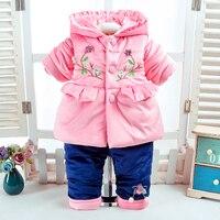 Winter Baby 2Pcs/Set Girls Flower Clothes Newborn 3 6 12Months Children Add Cotton Padded Warm Soft Long Sleeve+Pant Infant